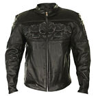 BXU6050 2XL Reflective Skull Thick Cowhide Leather Armored Motorcycle Jacket