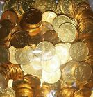 20 to 150 5p and 10p COINS LARGEMILK CHOCOLATE PARTY BAG FILLER - GOLD FOIL