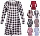 Womens Plus Size Flower Tartan Check Printed Ladies Flared Swing Dress Long Top