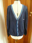 SLAZENGER NAVY BLUE V NECK STRIPE DETAIL COTTON KNITTED CARDIGAN LARGE L BNWT