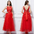 White Red Lace Tulle Bridesmaid long Formal Ball Evening Prom Gown Party Dresses