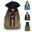 Vintage Retro Style Canvas & Faux Leather Backpack Rucksack School Laptop Duffle