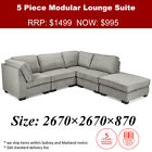 Westminster Sectional Lounge Fabric Sofa with Chaise Ottoman