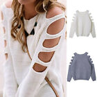 Sexy Women's Jumper Knitted Cut Out Fine Knit Loose Hollow-out Sweater Top