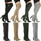Womens Ladies Over The Knee Stretch Boots Thigh High Block Heel Party Shoes Size