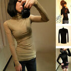 1pcs Women Girl Turtle Neck Long Sleeve Slim Fit Stretchable Shirt Blouse Top US