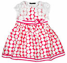 Girls Pink Polka Dot Sleeveless Dress & Lace Bolero Shrug Set 2 to 7 Years