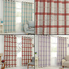 CHECK THERMAL SOLID BLACKOUT GROMMET EYELET TOP 2 CURTAIN PANELS RED CREAM BLUE