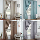 TEXTURED WOVEN PLAIN THERMAL BLACKOUT LINEN LOOK TAPE TOP PAIR WINDOW CURTAINS