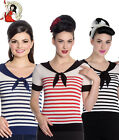 HELL BUNNY 50's COCO NAUTICAL COLLAR striped KNIT TOP BLACK BLUE RED