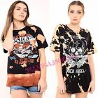 NEW WOMENS LADIES ACID WASH ROCK ANGEL SKULL EAGLE PRINT HIGH LOW  T SHIRT TOPS