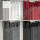 SEQUINS DIAMANTE VOILE NET CURTAIN EYELET GROMMET PANEL WHITE SILVER BLACK RED