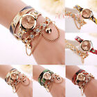 2017 Women Fashion Bracelet Rhinestone Rivet Leather Strap Quartz Dress Watches