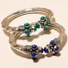 AMAZING LOT 925 STERLING SILVER OVERLAY GEMSTONE BRACELET/CUFF JEWELERY.