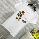 Embroidered Eyelash Women T-shirts with Star Patch White Short Sleeve Tees Tops