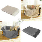 HERRINGBONE 100% COTTON SOFA BED BLANKET FLEECE THROW COVER CHAIR GREY NATURAL