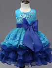 Little Girl Fancy Easter Party Pageant Lace Tiered Ruffle Big Bow Dress 3-11 Yrs