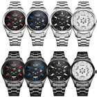 Mens Stainless Steel Strap Light Table Energy-saving Solar Wrist Watches 3ATM