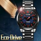 Mens Fashion Solar Power Watch Stainless Steel Band Sport Quartz Watches 3ATM