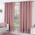 Pair of Plain Dyed 100% Cotton Eyelet Ring Top Lined Curtains, Dusky Pink Blush