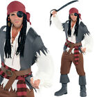 Adults Captain Castaway Pirate Costume – Mens Fancy Dress Film Character Villain
