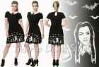 Banned DR5157 Wednesday Addams Poison Black Magic White Collar Nu Goth Dress