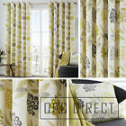 Pair of Floral Leaf 100% Cotton Eyelet Ring Top Lined Curtains, Lime Ochre Grey