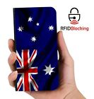 RFID Protected Australian Flag PU Leather Phone Wallet Case for Samsung Galaxy