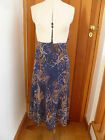 MARKS AND SPENCER CLASSIC LINED  SWIRL PRINT FLOATY MIDI SKIRT 8 PETROL BLUE