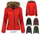 NEW LADIES JACKET WOMENS QUILTED FUR COLLAR PADDED BUTTON ZIP COAT SIZE 8-16
