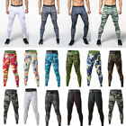 Mens Workout Athletic Compression Pants Dri fit Spandex Long Camouflage Fashion