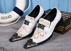 Punk Men Pointy toe Metal Decor Slip On Loafer Breathable Casual shoes White New