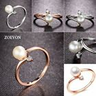 ZOEVON Fashion Women Simulated Pearl Tiny Rhinestones Rings Rose Gold Plated