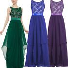 US Fashion Women Formal Bridesmaid Evening Gown Party Prom Dress Long Lace Dress
