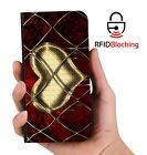 RFID Protected Heart Gold PU Leather Wallet Custom Case Cover Apple iPhone