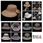 Women's Straw Hat Bucket Cap Fashion Casual Beach Sun Visor Brim Floppy Hats