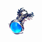 Pewter Pendant in Design of Dragon on a Blue Glass Crystal Sphere Marble Ball