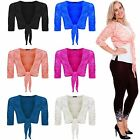 New Ladies Womens TIE UP Knot Lace Crop Bolero 3/4 Sleeves Shrug Wrap TOP XL-3XL
