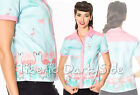 Banned Going My Way Turquesa y Rosa Flamenco Pin Up Retro Vintage Blusa Camisa