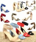 red ankle heels - Women's Cute Open Toe Ankle Strap Chunky Heels Sandals Shoes Size 5.5 - 11 NEW
