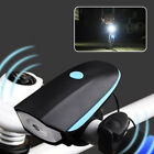 Bike Bicycle Cycling Electric Horn Light USB Rechargeable LED Headlight