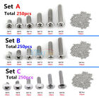 250x M4 304 Stainless Cross-head Screws Bolt Hex Nuts Assortment Kit Repair Tool