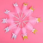 6x Glitter Ballerina Cupcake Toppers Pink Dress Princess Skirt Party Decoration