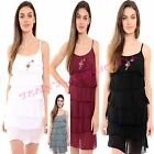 Women's Embroidered Floral Rose Silky Strappy Frill Ruffle Mini Party Dress Top
