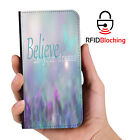 RFID Protected Believe Dreams PU Leather Wallet Custom Case Cover Apple iPhone