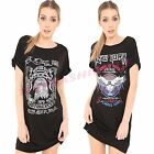 Women Rock Star New York Print Ladies Slogan Printed T Shirt Top Mini Dress 8-26
