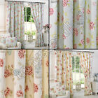 BIRDCAGE BIRDS FLORAL CHIC BUTTERFLY VINTAGE LINED PAIR 2 WINDOW CURTAIN PANELS