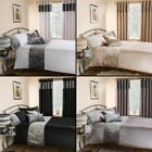 LUXURY CRUSHED VELVET QUILT DUVET BEDDING SET CREAM SILVER BLACK WHITE NEW