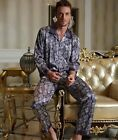 Fabulous Blue Silk Blend 2PCs Men's Sleeves Sleepwear/ Pajama Sets L/XL/2XL/3XL