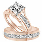3.65 CT Square Princess Cut 3 Pcs Engagement Wedding Ring Trio Set 10K Rose Gold